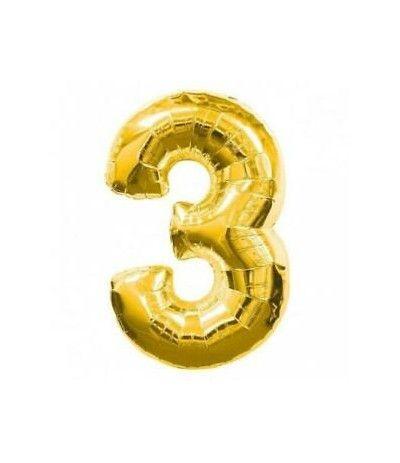 palloncino numero 3 oro cm 35