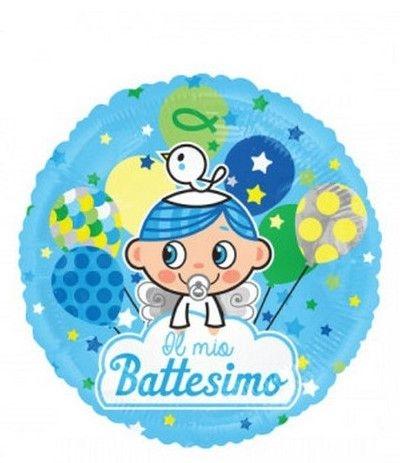 palloncino mylar il mio battesimo azzurro- 45 cm