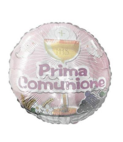 palloncino mylar comunione rosa 1- 45 cm