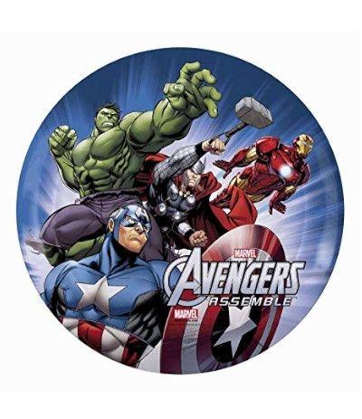 Cialda in zucchero tonda A3- Avengers 30 cm