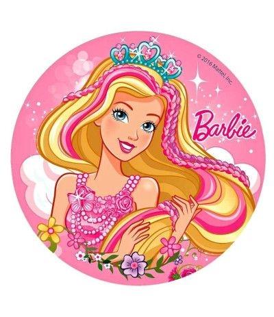 Cialda tonda in pasta di zucchero A3- Barbie 30 cm