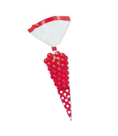 bustine trasparenti cono rosso- 10 pezzi