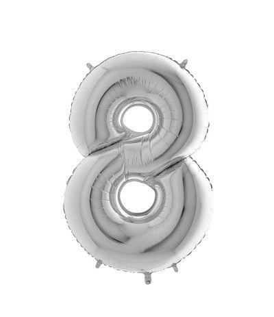 palloncino mylar argento 8- 35 cm