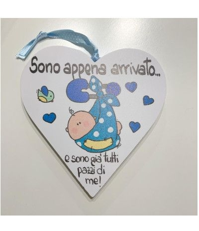 cuore legno nascita azzurro