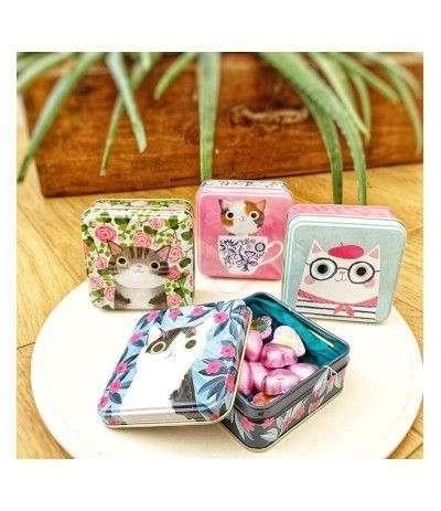 scatola latta modelli assortiti animali + cioccolatini