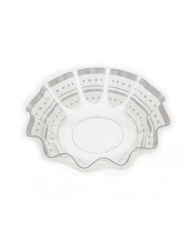 vassoio trasparente plastica argento- 28 cm