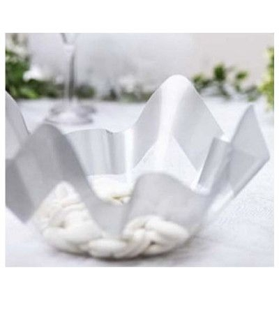 vassoio trasparente plastica argento- 22,5 cm