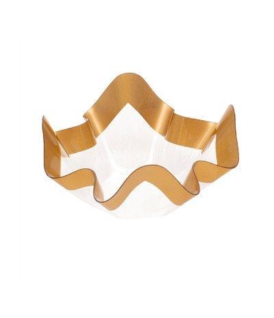 vassoio trasparente plastica oro- 22,5 cm