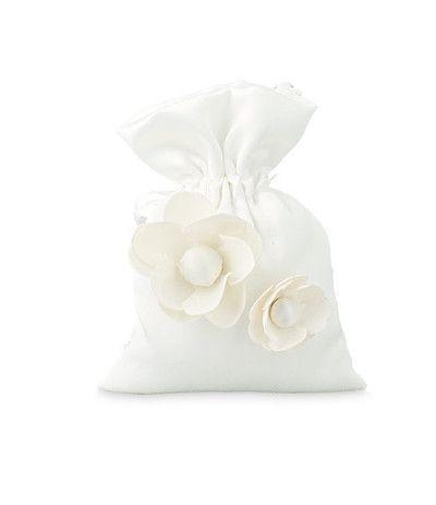 sacchetto bianco lucido con fiore
