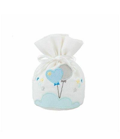 sacchetto baby azzurro palloncino- 11,5 x 7 cm