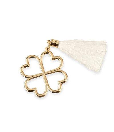 Quadrifoglio oro con nappa- 4 cm