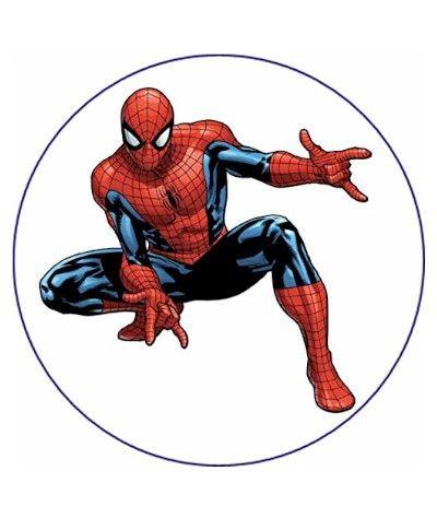 Cialda tonda in pasta di zucchero A4- Spiderman 20 cm