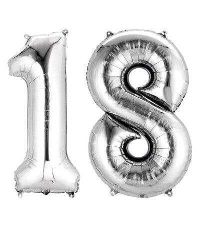 palloncino mylar 18 anni argento- 1 mt