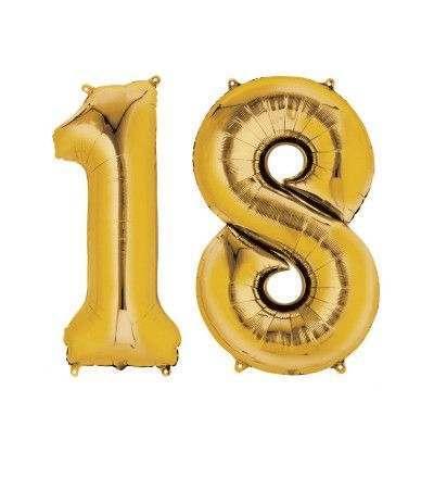 palloncino mylar 18 anni oro- 1 mt
