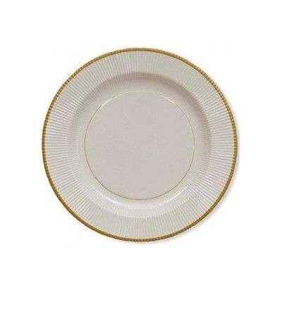 piatti bianchi rigati con bordo oro- 27 cm