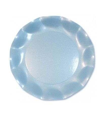 piattini celeste perlato 21 cm- 10 pezzi