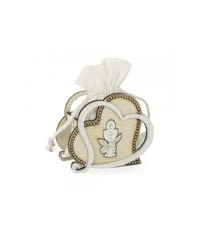 cuore in legno con sacchetto comunione- 6 pezzi