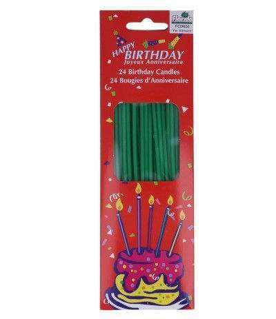 candeline verdi sottili- 24 pezzi
