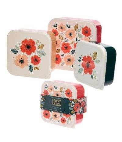 contenitori floreal rosso- 3 pezzi