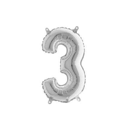 palloncino mylar numero 3 argento- 43 cm