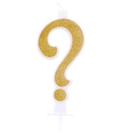 candelina glitterata oro punto interrogativo-10.5cm