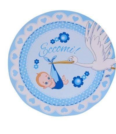 piattino nascita azzurro 8pz