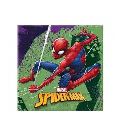 Tovagliolo spiderman sfondo verde- 20 pezzi