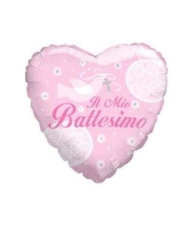 Pallone mylar battesimo cuore rosa- 45 cm