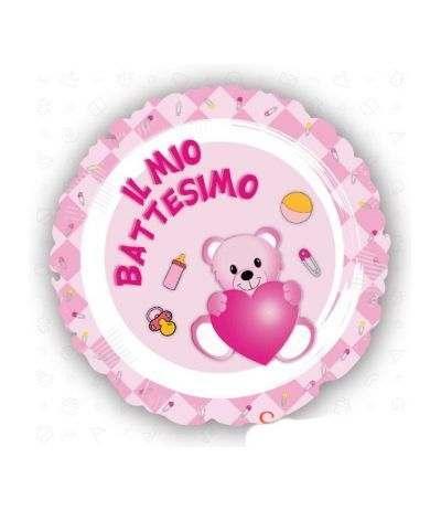 palloncino mylar il mio battesimo rosa