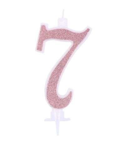 candeline glitterate grandi rosa gold 7