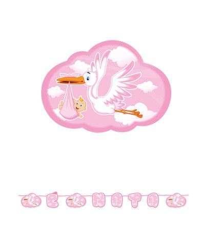 festone E' nata cicogna rosa- 6 mt
