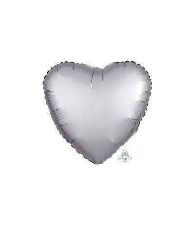 palloncino cuore satinato argento- 45 cm