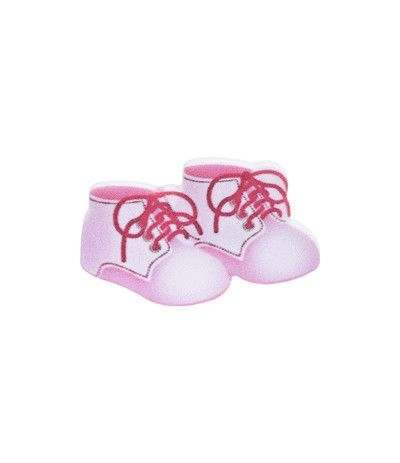kit nascita scarpe e biberon rosa- 4 pezzi