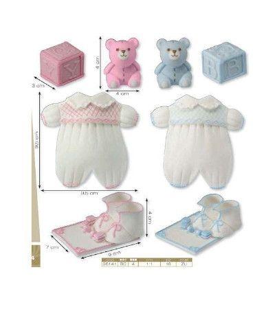 kit grande nascita zucchero azzurro- 4 pezzi