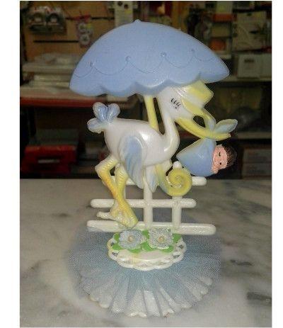 topper cicogna azzurro- 15 cm
