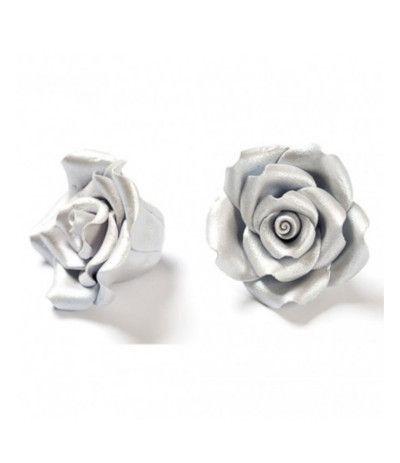 rosa di zucchero argento grande- 5 cm