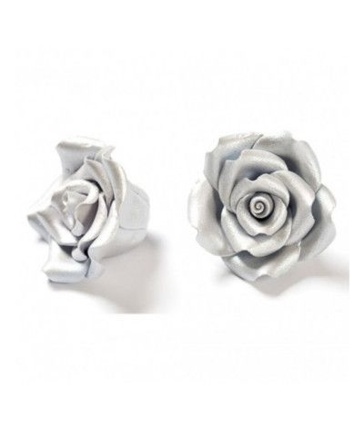rosa di zucchero argento piccola- 2,5 cm