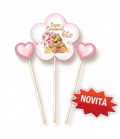 candelina orsetto rosa e cuoricini