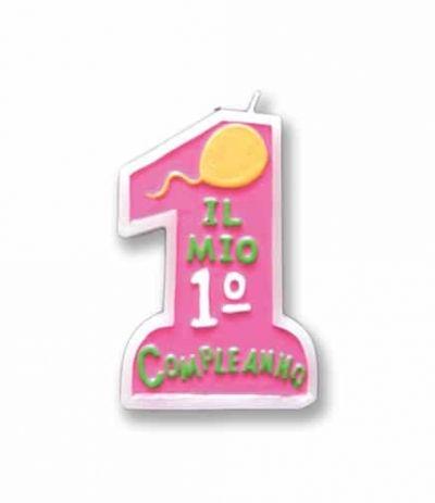 candelina 1 rosa- 10 cm