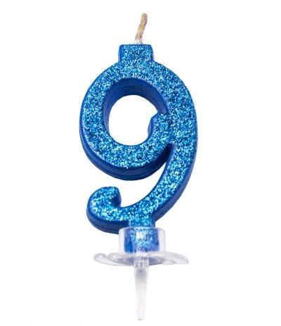 candelina glitterata piccola blu 9- 7 cm