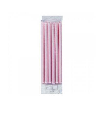 Candele per torta perlescenti rosa- 12 pezzi