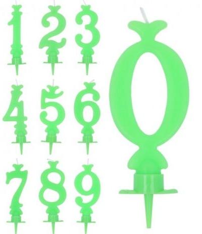 candelina verde lime numero 0- 8 cm