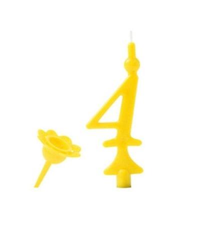 candelina gialla numero 4- 8 cm