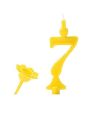 candelina gialla numero 7- 8 cm