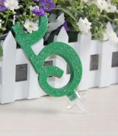 candelina glitterata piccola verde 5- 7 cm
