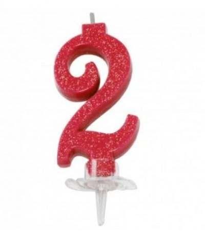 candelina glitterata piccola rossa 2- 7 cm