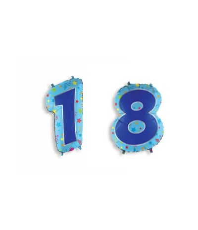 palloncino numero 18  blu mylar- 60 cm