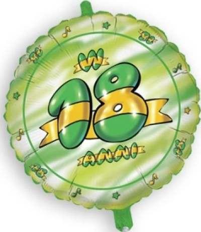 palloncino mylar 18 anni verde tondo- 45 cm