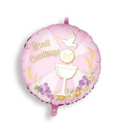 palloncini mylar comunione rosa- 45 cm
