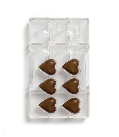 Stampo per cioccolatini cuore 10 cavità  in policarbonato - Decora